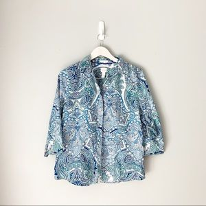 Chico's Paisley No iron Button Down Shirt